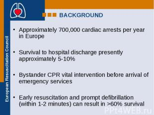 Approximately 700,000 cardiac arrests per year in Europe Approximately 700,000 c