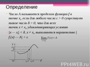 ЧислоА называется пределом функцииfв точкеx0,если