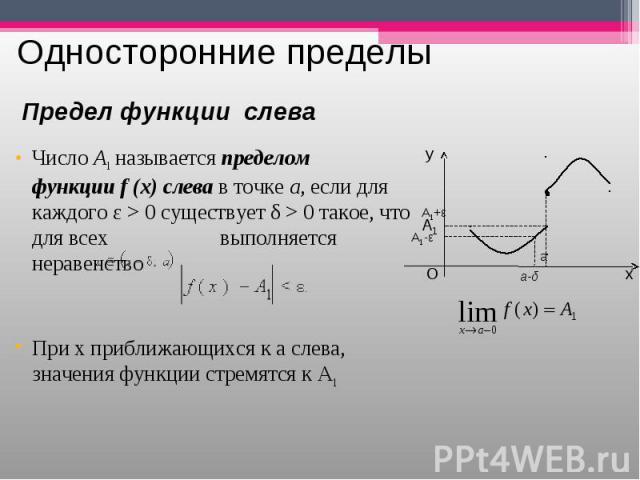 ЧислоA1называетсяпределом функцииf(x)слевав точкеa, если для каждого ε>0 существует δ>0 такое, что для всех  выполняется неравенство ЧислоA1&…