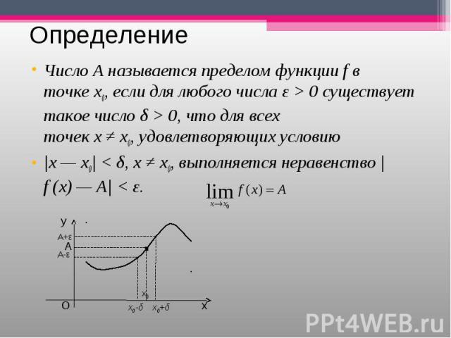 ЧислоА называется пределом функцииfв точкеx0,если для любого числа ε > 0 существует такое число δ > 0, что для всех точекх≠x0,удовлетворяющих условию ЧислоА называется пределом функци…