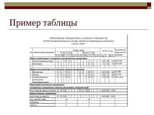 Пример таблицы