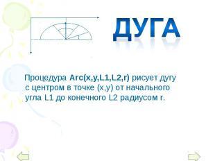 Процедура Arc(x,y,L1,L2,r) рисует дугу с центром в точке (х,у) от начального угл