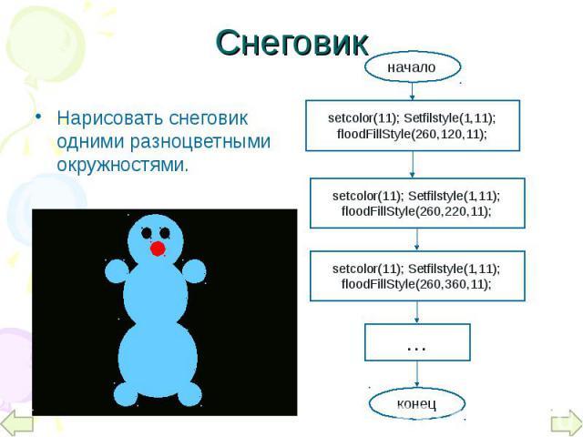 Нарисовать снеговик одними разноцветными окружностями. Нарисовать снеговик одними разноцветными окружностями.