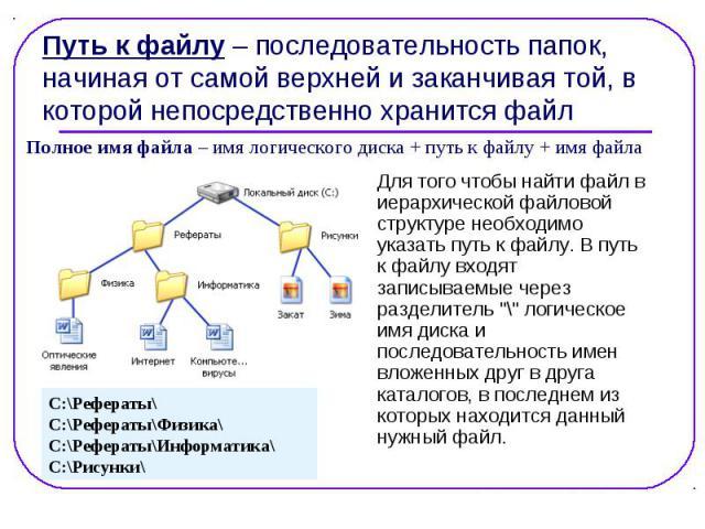 """Для того чтобы найти файл в Для того чтобы найти файл в иерархической файловой структуре необходимо указать путь к файлу. В путь к файлу входят записываемые через разделитель """"\"""" логическое имя диска и последовательность имен вложенных дру…"""