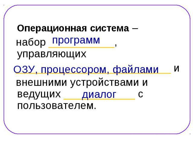 Операционная система – Операционная система – набор ___________, управляющих __________________________ и внешними устройствами и ведущих ____________ с пользователем.