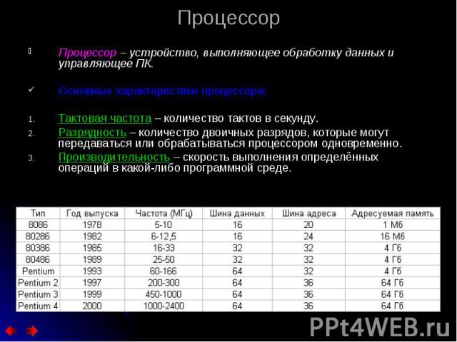 Процессор – устройство, выполняющее обработку данных и управляющее ПК. Процессор – устройство, выполняющее обработку данных и управляющее ПК. Основные характеристики процессора: Тактовая частота – количество тактов в секунду. Разрядность – количеств…