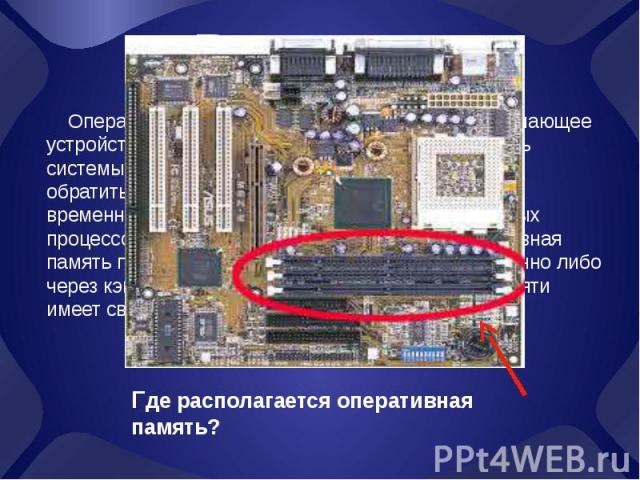 Введение Оперативная память (также оперативное запоминающее устройство, ОЗУ) — в информатике — память, часть системы памяти ЭВМ, в которую процессор может обратиться за одну операцию. Предназначена для временного хранения данных и команд, необходимы…