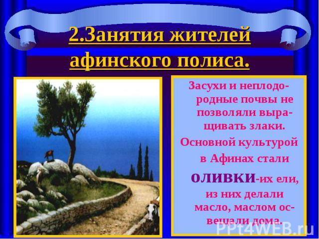 Засухи и неплодо-родные почвы не позволяли выра-щивать злаки. Засухи и неплодо-родные почвы не позволяли выра-щивать злаки. Основной культурой в Афинах стали оливки-их ели, из них делали масло, маслом ос-вещали дома.
