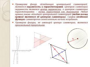 Примерами фигур, обладающих центральной симметрией, являются окружность и паралл