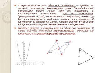 У неразвернутого угла одна ось симметрии — прямая, на которой расположена биссек