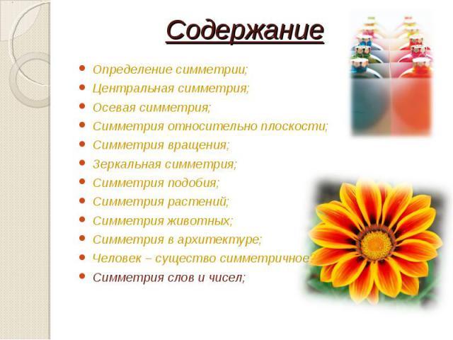 Определение симметрии; Определение симметрии; Центральная симметрия; Осевая симметрия; Симметрия относительно плоскости; Симметрия вращения; Зеркальная симметрия; Симметрия подобия; Симметрия растений; Симметрия животных; Симметрия в архитектуре; Че…