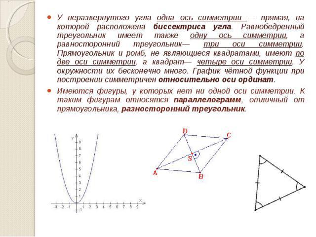 У неразвернутого угла одна ось симметрии — прямая, на которой расположена биссектриса угла. Равнобедренный треугольник имеет также одну ось симметрии, а равносторонний треугольник— три оси симметрии. Прямоугольник и ромб, не являющиеся квадратами, и…