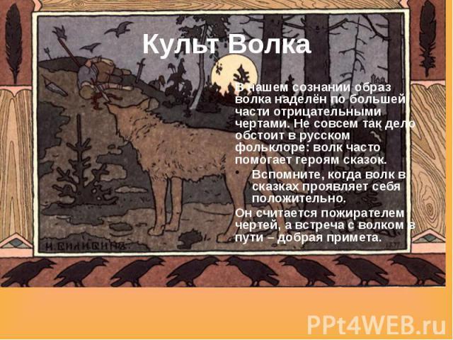 Культ Волка В нашем сознании образ волка наделён по большей части отрицательными чертами. Не совсем так дело обстоит в русском фольклоре: волк часто помогает героям сказок. Вспомните, когда волк в сказках проявляет себя положительно. Он считается по…