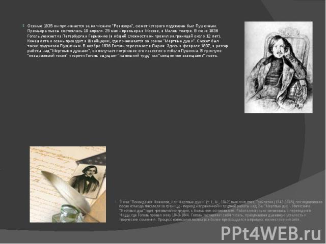 """Осенью 1835 он принимается за написание """"Ревизора"""", сюжет которого подсказан был Пушкиным. Премьера пьесы состоялась 19 апреля. 25 мая - премьера в Москве, в Малом театре. В июне 1836 Гоголь уезжает из Петербурга в Германию (в общей сложно…"""