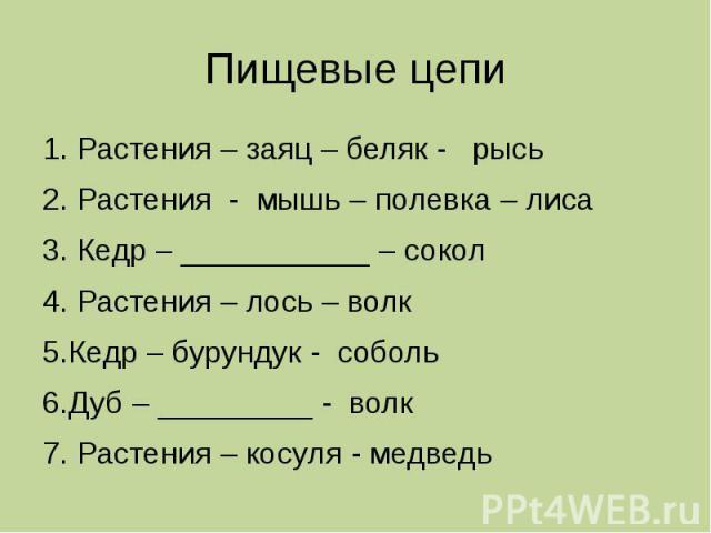 Пищевые цепи 1. Растения – заяц – беляк - рысь 2. Растения - мышь – полевка – лиса 3. Кедр – ___________ – сокол 4. Растения – лось – волк 5.Кедр – бурундук - соболь 6.Дуб – _________ - волк 7. Растения – косуля - медведь