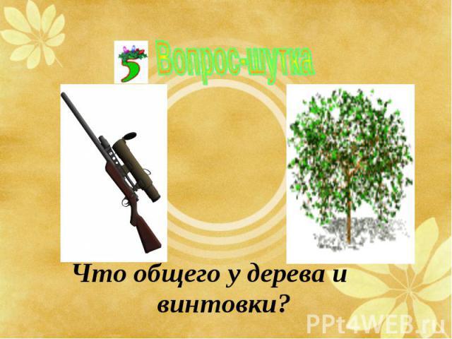 Что общего у дерева и винтовки? Что общего у дерева и винтовки?