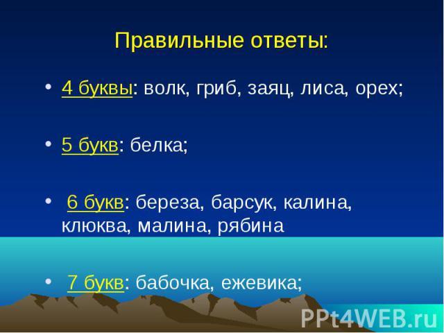 Правильные ответы: 4 буквы: волк, гриб, заяц, лиса, орех; 5 букв: белка; 6 букв: береза, барсук, калина, клюква, малина, рябина 7 букв: бабочка, ежевика;