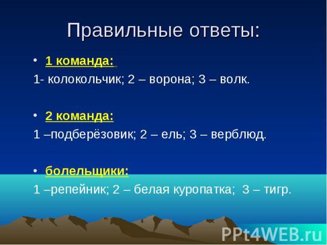 Правильные ответы: 1 команда: 1- колокольчик; 2 – ворона; 3 – волк. 2 команда: 1 –подберёзовик; 2 – ель; 3 – верблюд. болельщики: 1 –репейник; 2 – белая куропатка; 3 – тигр.