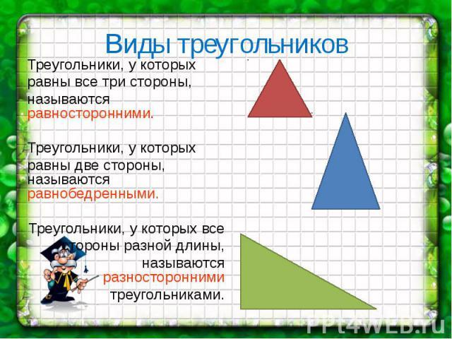 Виды треугольников Треугольники, у которых равны все три стороны, называются равносторонними. Треугольники, у которых равны две стороны, называются равнобедренными. Треугольники, у которых все стороны разной длины, называются разносторонними треугол…