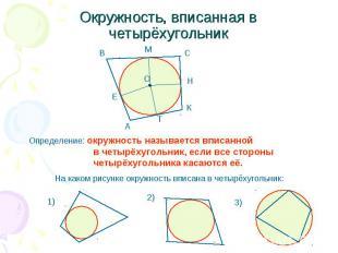 Окружность, вписанная в четырёхугольник