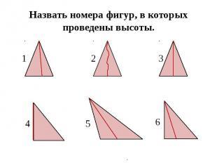 Назвать номера фигур, в которых проведены высоты.