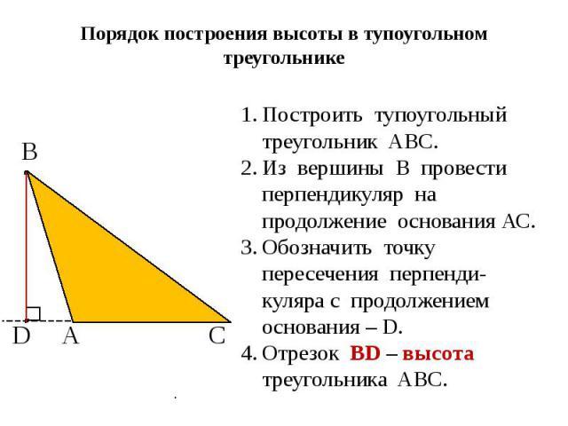 Порядок построения высоты в тупоугольном треугольнике