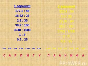 1 вариант 1 вариант 177,1 : 46 16,32 : 24 2,8 : 35 39,2 : 100 3748 : 1000 1 : 4