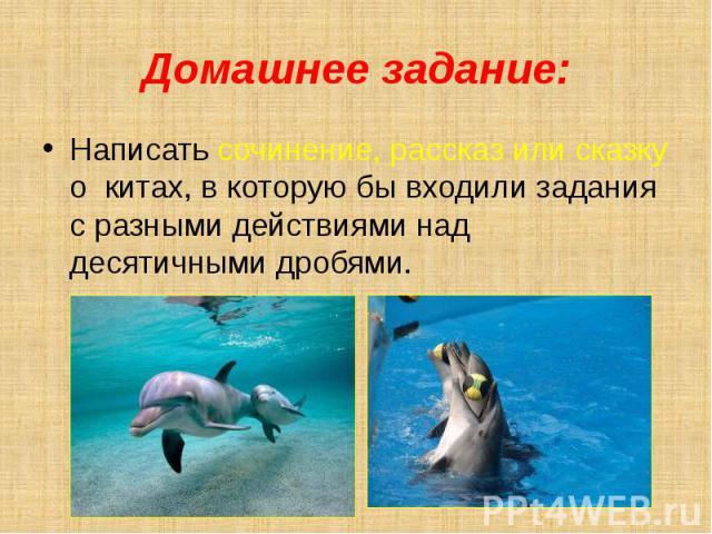 Домашнее задание: Написать сочинение, рассказ или сказку о китах, в которую бы входили задания с разными действиями над десятичными дробями.