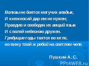 Волхвы не боятся могучих владык, И княжеский дар им не нужен; Правдив и свободен