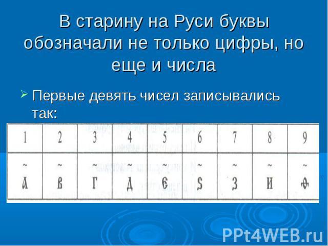 В старину на Руси буквы обозначали не только цифры, но еще и числа Первые девять чисел записывались так: