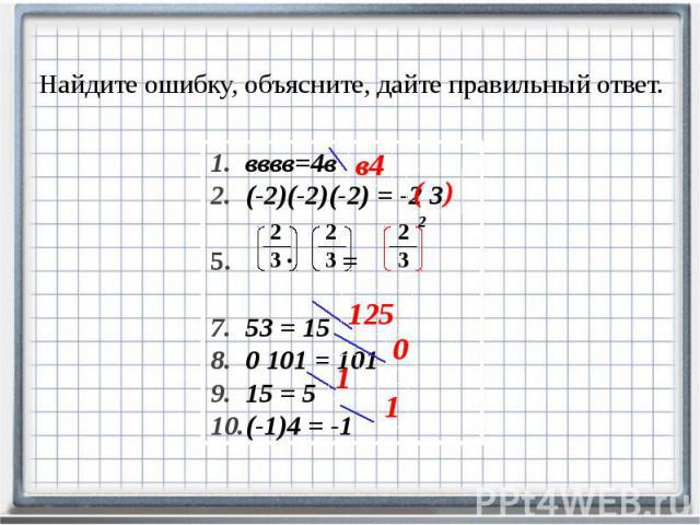 Найдите ошибку, объясните, дайте правильный ответ. вввв=4в (-2)(-2)(-2) = -2 3 ∙ = 53 = 15 0101 = 101 15 = 5 (-1)4 = -1