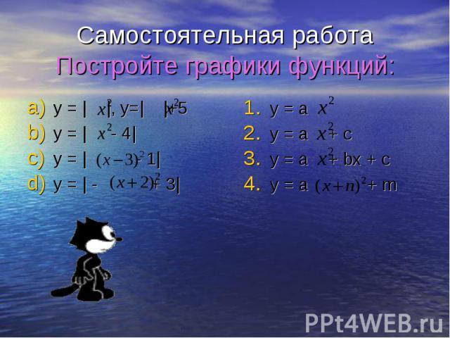 Самостоятельная работа Постройте графики функций: y = | |, y=| |+5 y = | - 4| y = | - 1| y = | - + 3|
