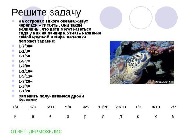На островах Тихого океана живут черепахи – гиганты. Они такой величины, что дети могут кататься сидя у них на панцире. Узнать название самой крупной в мире черепахи поможет задание: На островах Тихого океана живут черепахи – гиганты. Они такой велич…