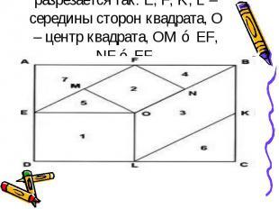 ПИФАГОРОВА ГОЛОВОЛОМКА Из семи частей квадрата составить снова квадрат, прямоуго