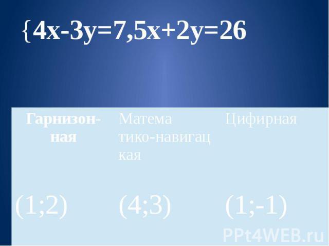 {4х-3у=7,5х+2у=26