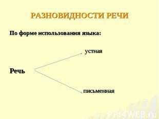 По форме использования языка: По форме использования языка: устная Речь письменн