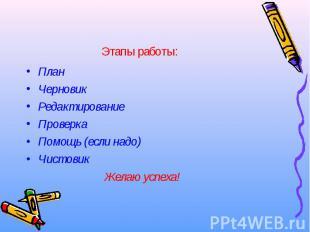 План План Черновик Редактирование Проверка Помощь (если надо) Чистовик Желаю усп