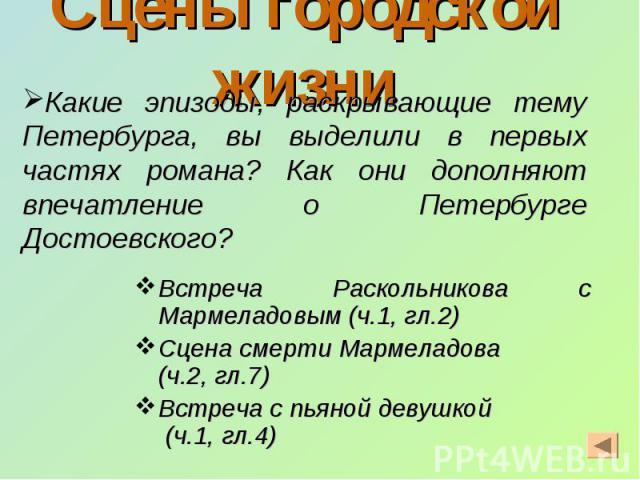 Сцены городской жизни Встреча Раскольникова с Мармеладовым (ч.1, гл.2) Сцена смерти Мармеладова (ч.2, гл.7) Встреча с пьяной девушкой (ч.1, гл.4)