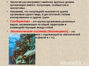 Экология рассматривает наиболее крупные уровни организации живого: популяции, со