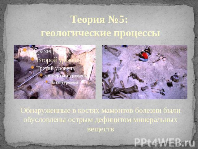 Теория №5: геологические процессы Обнаруженные в костях мамонтов болезни были обусловлены острым дефицитом минеральных веществ