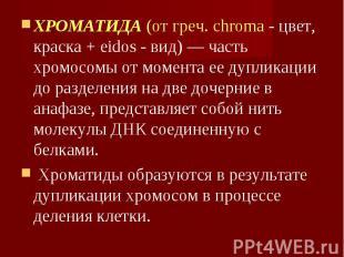 ХРОМАТИДА (от греч. chroma - цвет, краска + eidos - вид) — часть хромосомы от мо