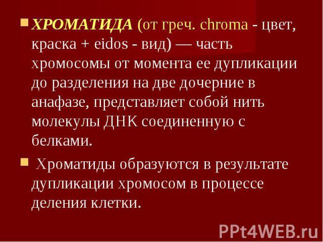 ХРОМАТИДА (от греч. chroma - цвет, краска + eidos - вид) — часть хромосомы от момента ее дупликации до разделения на две дочерние в анафазе, представляет собой нить молекулы ДНК соединенную с белками. ХРОМАТИДА (от греч. chroma - цвет, краска + eido…