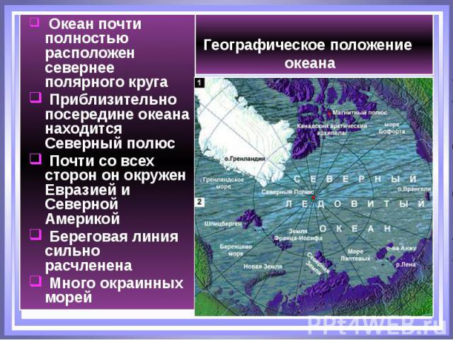 Географическое положение океана Океан почти полностью расположен севернее полярного круга Приблизительно посередине океана находится Северный полюс Почти со всех сторон он окружен Евразией и Северной Америкой Береговая линия сильно расчленена Много …