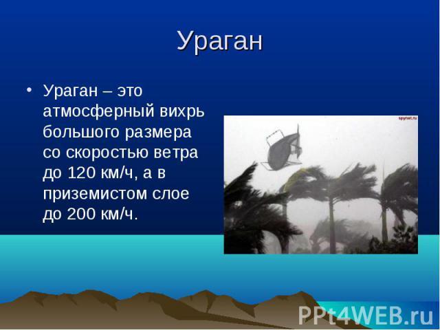 Ураган – это атмосферный вихрь большого размера со скоростью ветра до 120 км/ч, а в приземистом слое до 200 км/ч. Ураган – это атмосферный вихрь большого размера со скоростью ветра до 120 км/ч, а в приземистом слое до 200 км/ч.