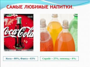 Кола – 80%, Фанта – 63% Кола – 80%, Фанта – 63%