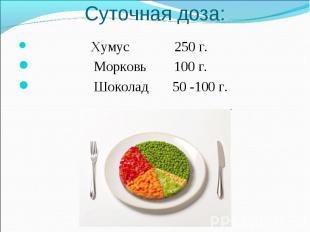 Суточная доза: Хумус 250 г. Морковь 100 г. Шоколад 50 -100 г.