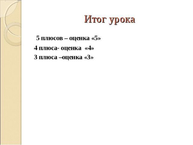 5 плюсов – оценка «5» 5 плюсов – оценка «5» 4 плюса- оценка «4» 3 плюса –оценка «3»