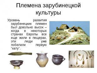 Племена зарубинецкой культуры Уровень развития зарубенецких племен был довольно