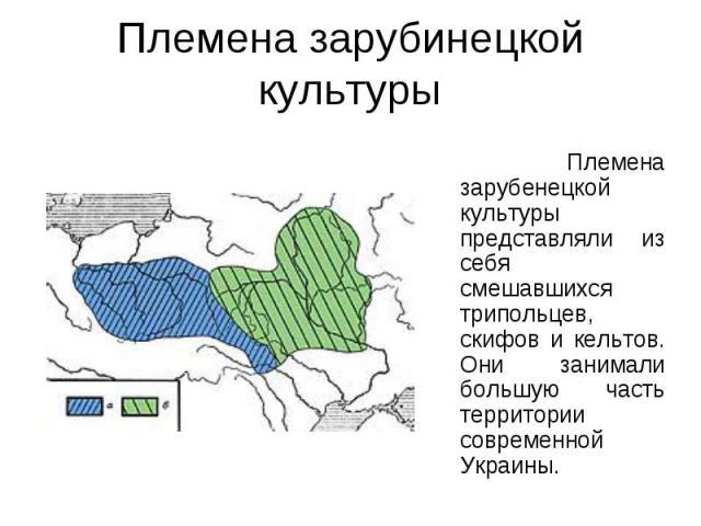 Племена зарубинецкой культуры Племена зарубенецкой культуры представляли из себя смешавшихся трипольцев, скифов и кельтов. Они занимали большую часть территории современной Украины.