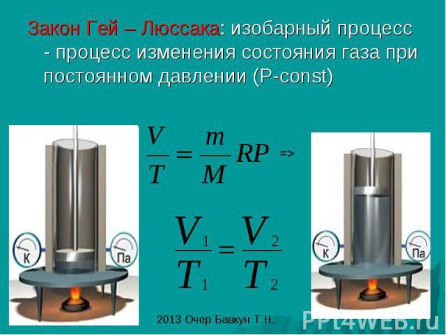 Закон Гей – Люссака: изобарный процесс - процесс изменения состояния газа при постоянном давлении (P-const)